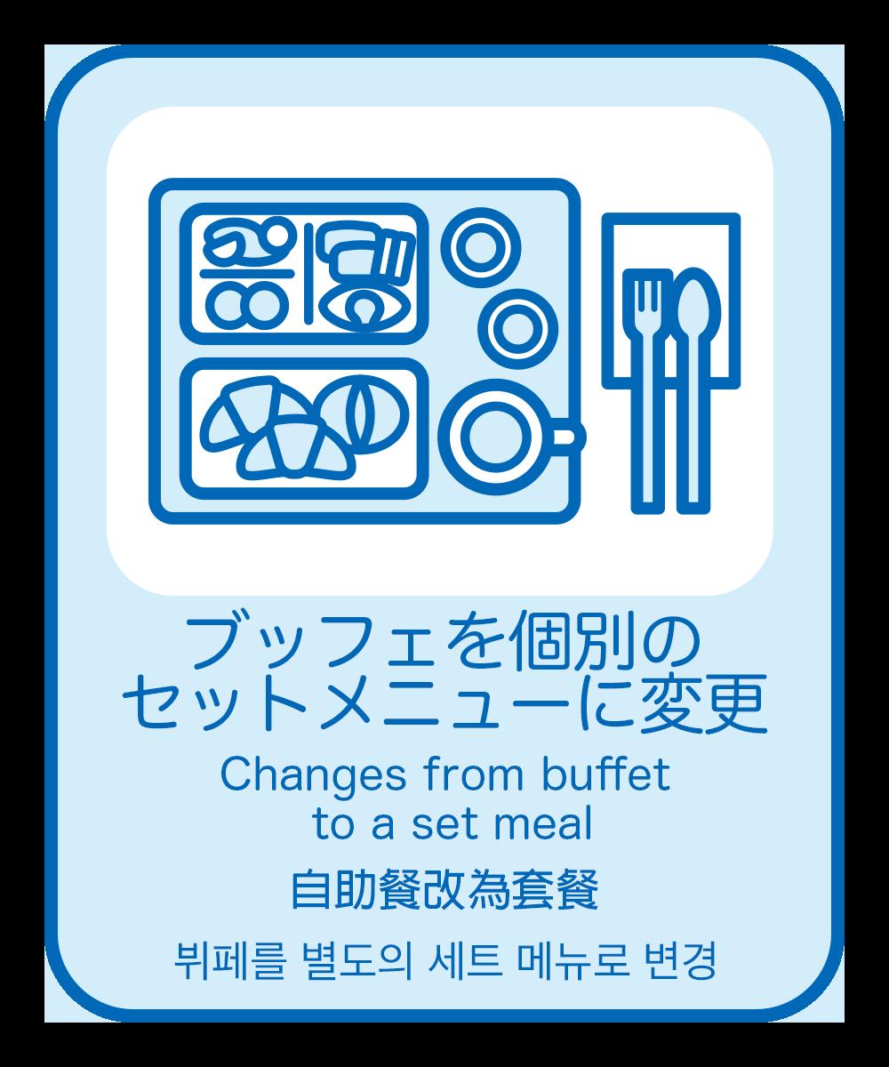 9.(洋食)ブッフェを個別のセットメニューに変更